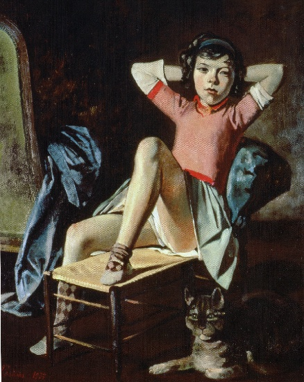 famous painting chica con gato of Balthus (Balthasar Klossowski)