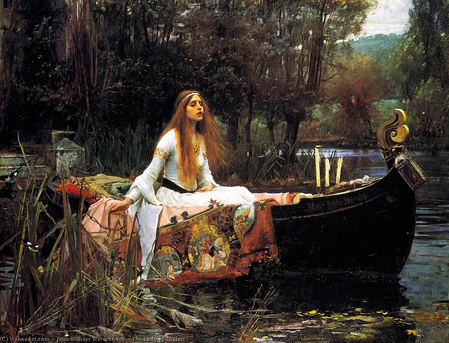 famous painting La Dama de Shalott of John William Waterhouse