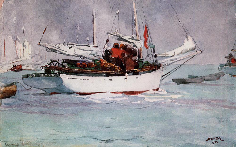 famous painting sponge` barcos Llave Oeste of Winslow Homer