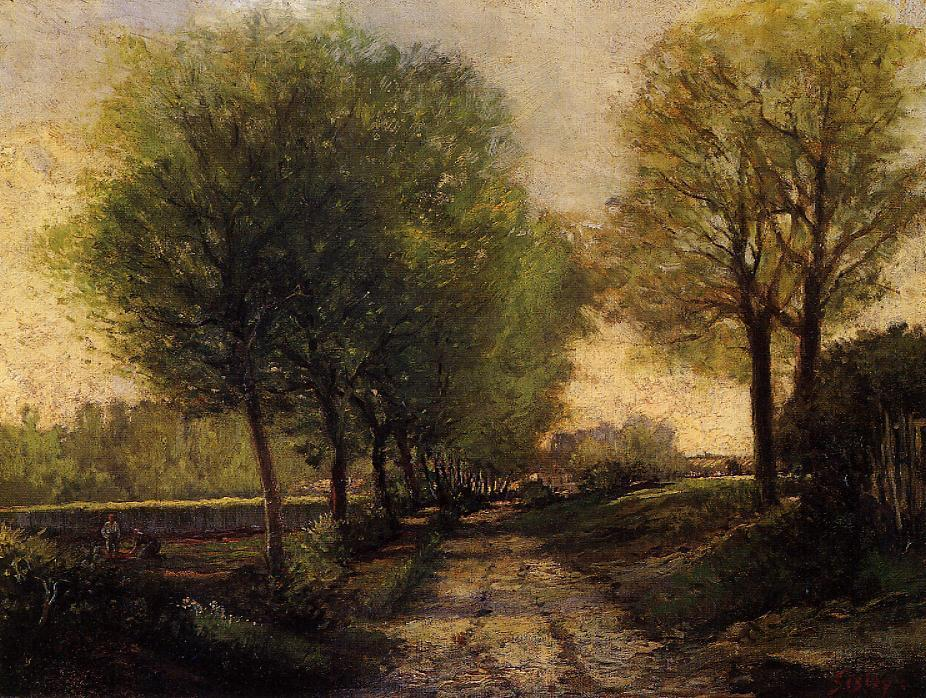 famous painting Carril cerca  Un  pequeña  ciudad  of Alfred Sisley