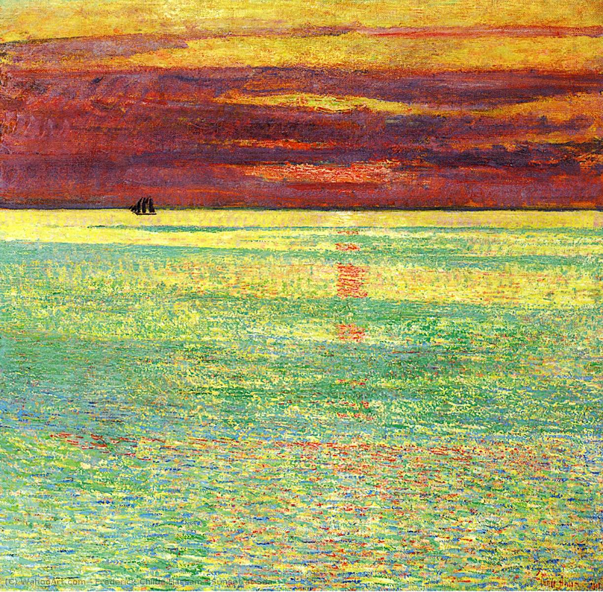 famous painting atardecer de los casos mar of Frederick Childe Hassam