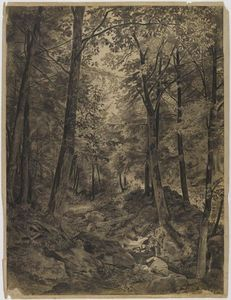 William Trost Richards - bosque escena enestado  rocoso  arroyo