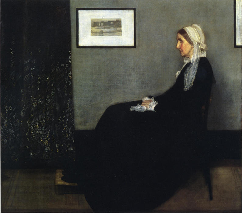 famous painting arreglo en gris y negro . Retrato de la Painter's Madre of James Abbott Mcneill Whistler