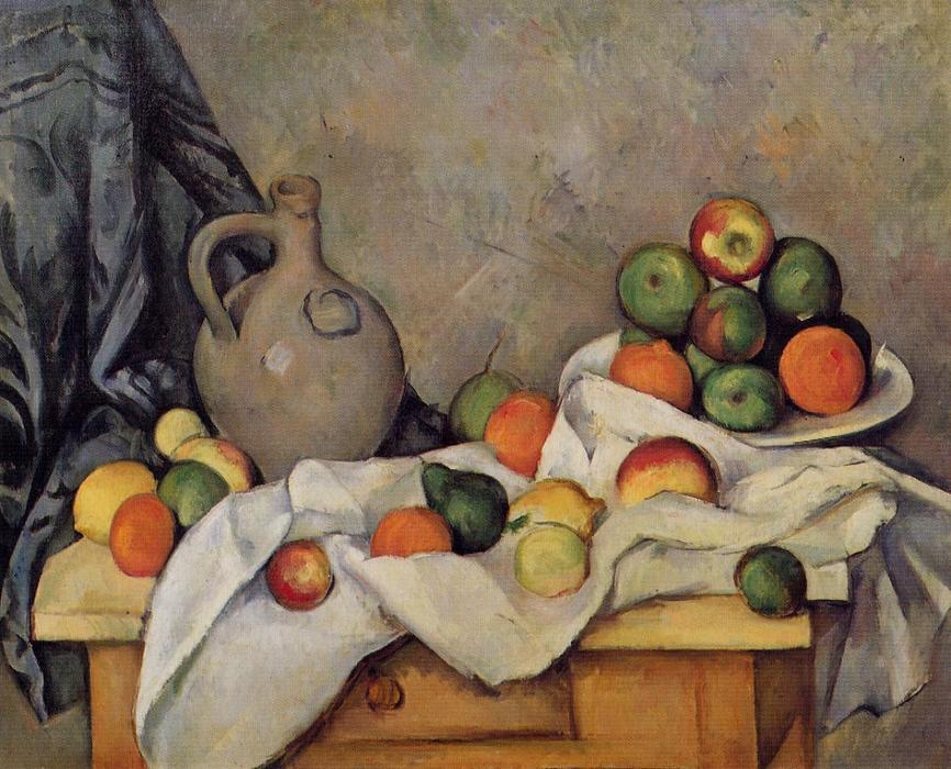 famous painting Cortina , jarra y fruta of Paul Cezanne