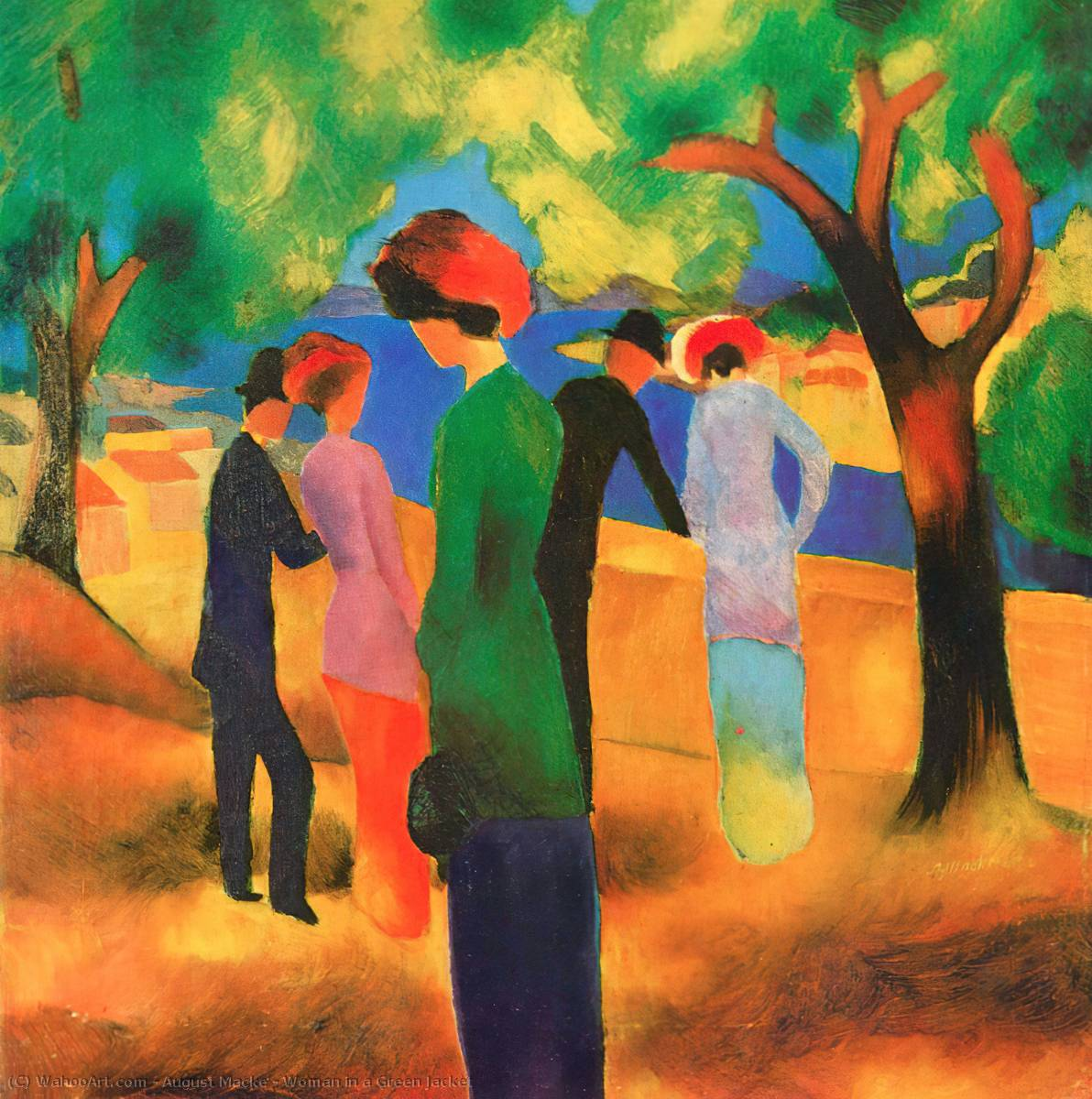 famous painting mujer en una verdosos  chaqueta  of August Macke