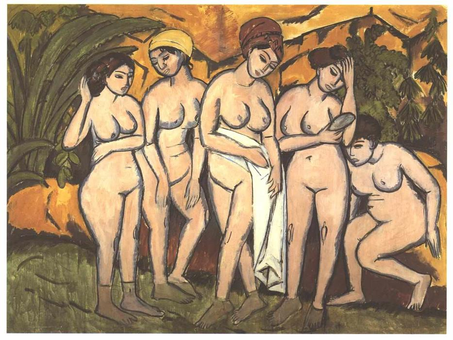 famous painting cinco mujeres bañándose en un lago of Ernst Ludwig Kirchner