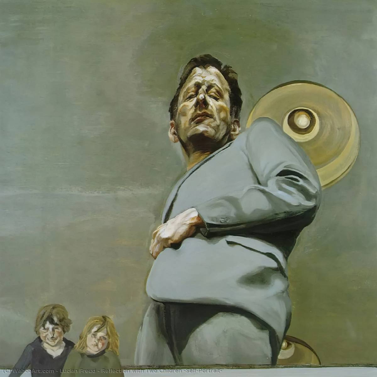 famous painting reflexión con dos niños ( Self-Portrait ) of Lucian Freud