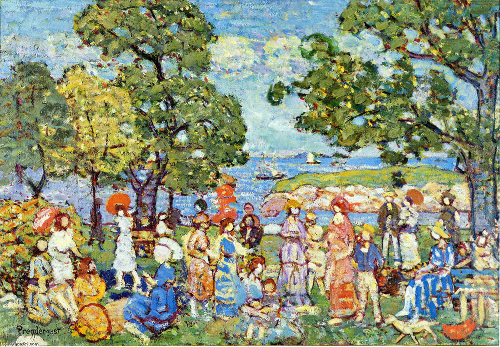 famous painting La Promenade of Maurice Brazil Prendergast