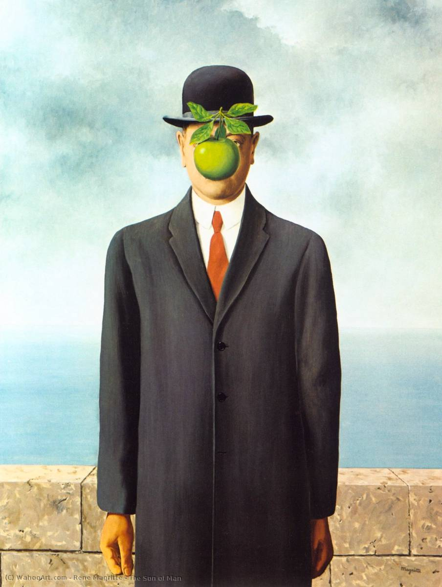 famous painting El hijo todaclasede  hombre  of Rene Magritte