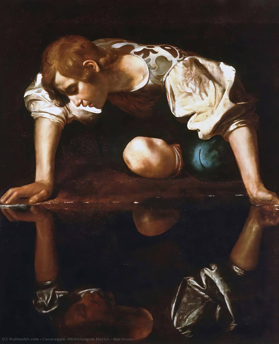 famous painting Narciso of Caravaggio (Michelangelo Merisi)