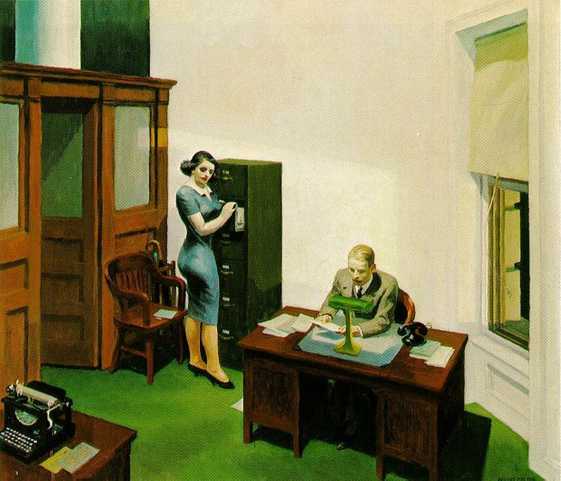 famous painting oficina a  camisón  of Edward Hopper