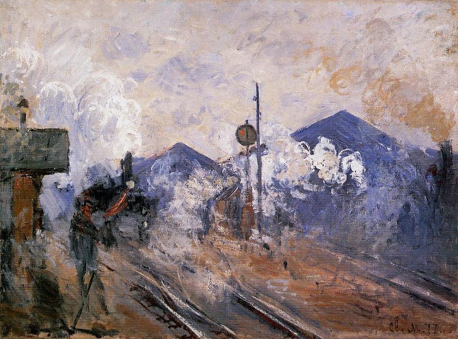 famous painting pista saliendo de Saint-Lazare Estación of Claude Monet