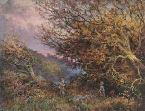 William Henry Hope - un otoño Por la tarde , Shirley , Surrey